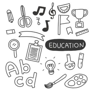 education, doodles, hand-drawn